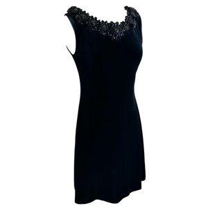Black Velvet Cocktail Dress Short Beading 4 Petite